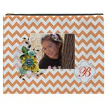 Cosmetic Bag (XXXL): Orange Chevron