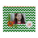 Cosmetic Bag (XL): Green Chevron