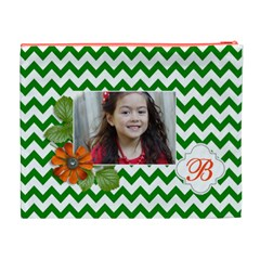 Cosmetic Bag (xl): Green Chevron By Jennyl   Cosmetic Bag (xl)   M4lg0d8d363k   Www Artscow Com Back