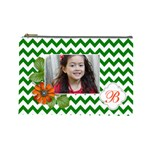 Cosmetic Bag (L): Green Chevron - Cosmetic Bag (Large)