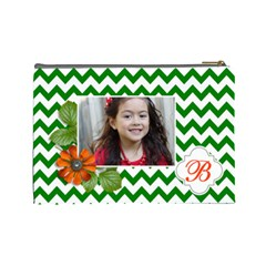 Cosmetic Bag (l): Green Chevron By Jennyl   Cosmetic Bag (large)   N9m4q6tdpxuc   Www Artscow Com Back