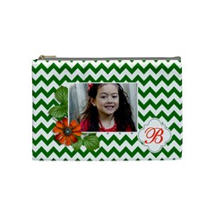 Cosmetic Bag (m): Green Chevron By Jennyl   Cosmetic Bag (medium)   8m6bd2zrbaq7   Www Artscow Com Front