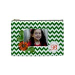 Cosmetic Bag (M): Green Chevron - Cosmetic Bag (Medium)