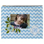 Cosmetic Bag (XXXL): Blue Chevron