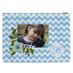 Cosmetic Bag (xxl): Blue Chevron By Jennyl   Cosmetic Bag (xxl)   Taipgy3z1n58   Www Artscow Com Back
