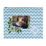Cosmetic Bag (XL): Blue Chevron