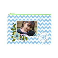 Cosmetic Bag (l): Blue Chevron By Jennyl   Cosmetic Bag (large)   K3vbm1yqo87o   Www Artscow Com Front