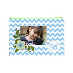 Cosmetic Bag (l): Blue Chevron By Jennyl   Cosmetic Bag (large)   K3vbm1yqo87o   Www Artscow Com Back