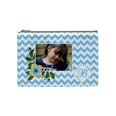 Cosmetic Bag (m): Blue Chevron By Jennyl   Cosmetic Bag (medium)   Liw094nhhazq   Www Artscow Com Front