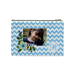 Cosmetic Bag (m): Blue Chevron By Jennyl   Cosmetic Bag (medium)   Liw094nhhazq   Www Artscow Com Back