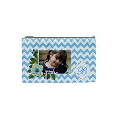 Cosmetic Bag (s): Blue Chevron By Jennyl   Cosmetic Bag (small)   91dqcs9zyffi   Www Artscow Com Front