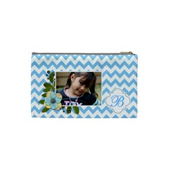 Cosmetic Bag (s): Blue Chevron By Jennyl   Cosmetic Bag (small)   91dqcs9zyffi   Www Artscow Com Back