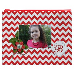 Cosmetic Bag (xxxl): Red Chevron By Jennyl   Cosmetic Bag (xxxl)   Plh6k4py1wtr   Www Artscow Com Front