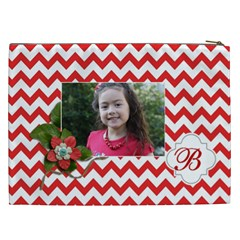 Cosmetic Bag (xxl): Red Chevron By Jennyl   Cosmetic Bag (xxl)   Rbwr69mfzm8g   Www Artscow Com Back