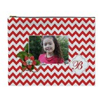 Cosmetic Bag (XL): Red Chevron