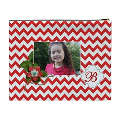 Cosmetic Bag (xl): Red Chevron By Jennyl   Cosmetic Bag (xl)   Ci7vj46q7yu1   Www Artscow Com Back