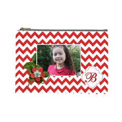 Cosmetic Bag (l): Red Chevron By Jennyl   Cosmetic Bag (large)   61zki0yd3612   Www Artscow Com Front