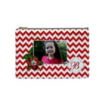 Cosmetic Bag (M): Red Chevron - Cosmetic Bag (Medium)
