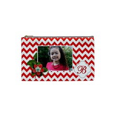 Cosmetic Bag (s): Red Chevron By Jennyl   Cosmetic Bag (small)   G7jei107mfjo   Www Artscow Com Front