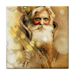 Golden Bokeh vintage Santa Claus Ceramic Tile by stineshop