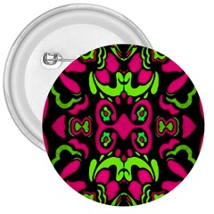 Psychedelic Retro Ornament Print 3  Button by dflcprints