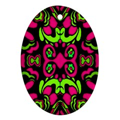 Psychedelic Retro Ornament Print Oval Ornament by dflcprints