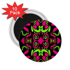 Psychedelic Retro Ornament Print 2 25  Button Magnet (10 Pack) by dflcprints