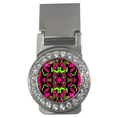 Psychedelic Retro Ornament Print Money Clip (cz) by dflcprints