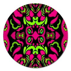 Psychedelic Retro Ornament Print Magnet 5  (round) by dflcprints