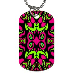 Psychedelic Retro Ornament Print Dog Tag (two Sided)  by dflcprints