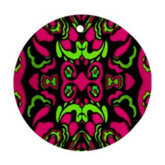 Psychedelic Retro Ornament Print Round Ornament (two Sides) by dflcprints