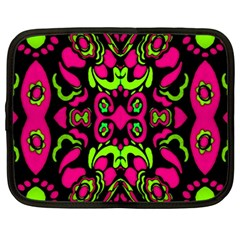 Psychedelic Retro Ornament Print Netbook Sleeve (Large) by dflcprints
