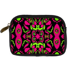 Psychedelic Retro Ornament Print Digital Camera Leather Case by dflcprints