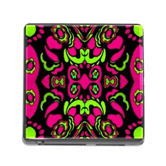 Psychedelic Retro Ornament Print Memory Card Reader With Storage (square) by dflcprints