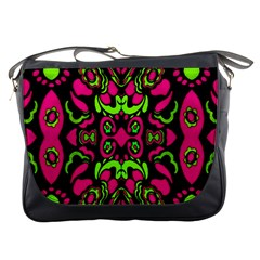 Psychedelic Retro Ornament Print Messenger Bag by dflcprints