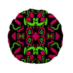 Psychedelic Retro Ornament Print 15  Premium Round Cushion  by dflcprints