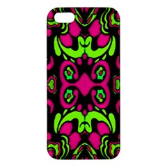 Psychedelic Retro Ornament Print Apple Iphone 5 Premium Hardshell Case by dflcprints