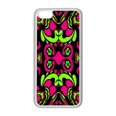 Psychedelic Retro Ornament Print Apple Iphone 5c Seamless Case (white) by dflcprints