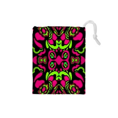 Psychedelic Retro Ornament Print Drawstring Pouch (small) by dflcprints