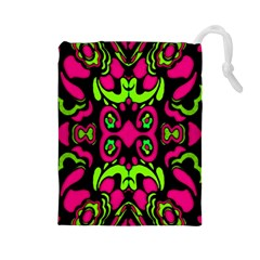 Psychedelic Retro Ornament Print Drawstring Pouch (large) by dflcprints