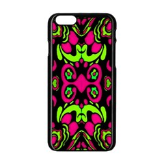 Psychedelic Retro Ornament Print Apple Iphone 6 Black Enamel Case by dflcprints