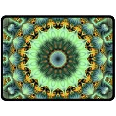 Green Fractal Shroom By Alex Hanley   Double Sided Fleece Blanket (large)   6myy7zk5xh88   Www Artscow Com 80 x60 Blanket Front