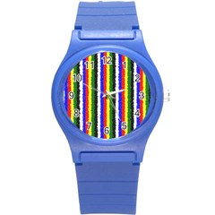 Basic Colors Curly Stripes Plastic Sport Watch (small) by BestCustomGiftsForYou