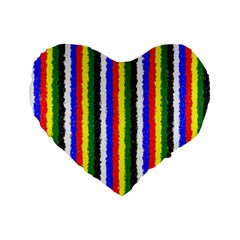 Basic Colors Curly Stripes 16  Premium Heart Shape Cushion  by BestCustomGiftsForYou