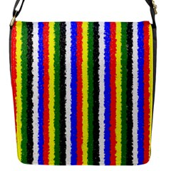 Basic Colors Curly Stripes Flap Closure Messenger Bag (small) by BestCustomGiftsForYou