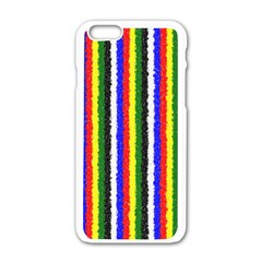 Basic Colors Curly Stripes Apple Iphone 6 White Enamel Case