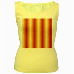 Red Curly Stripes Women s Tank Top (yellow) by BestCustomGiftsForYou