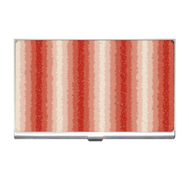 Red Curly Stripes Business Card Holder