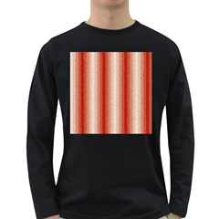 Red Curly Stripes Men s Long Sleeve T Shirt (dark Colored) by BestCustomGiftsForYou