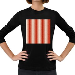 Red Curly Stripes Women s Long Sleeve T Shirt (dark Colored) by BestCustomGiftsForYou